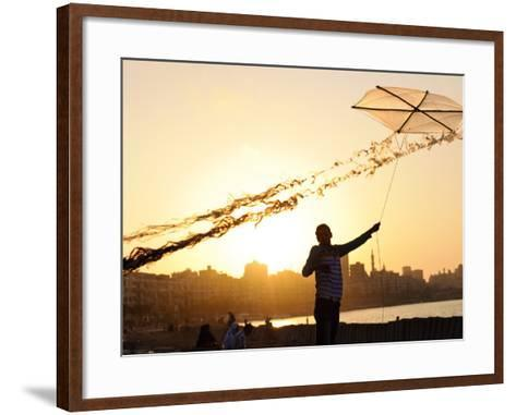 Kite Flyer Along the Corniche-Michael Benanav-Framed Art Print