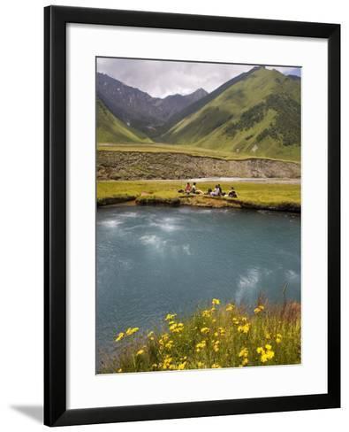 Hiking Group Resting Beside Mineral Spring in Truso Valley-Mark Daffey-Framed Art Print