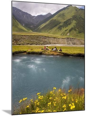 Hiking Group Resting Beside Mineral Spring in Truso Valley-Mark Daffey-Mounted Photographic Print
