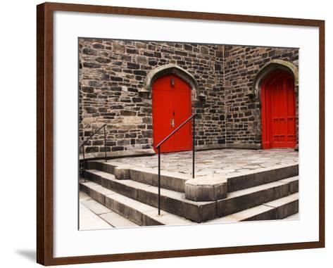 Bright Red Doors of Historic Chapel in Chelsea-Michelle Bennett-Framed Art Print