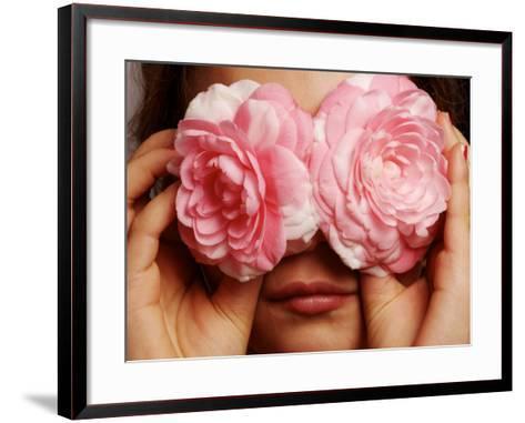 Young Girl Holding Camellia Flowers over Her Eyes-Oliver Strewe-Framed Art Print