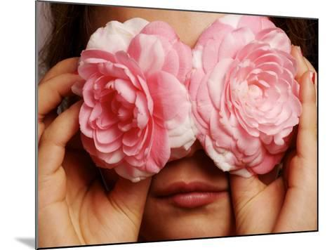 Young Girl Holding Camellia Flowers over Her Eyes-Oliver Strewe-Mounted Photographic Print