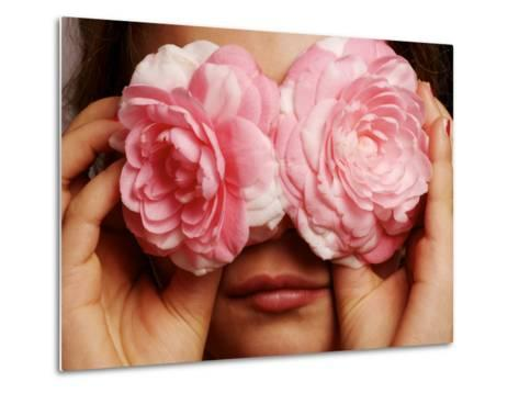 Young Girl Holding Camellia Flowers over Her Eyes-Oliver Strewe-Metal Print