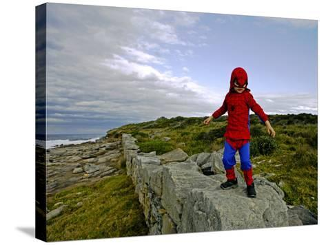 Child Dressed as Spiderman at Maroubra Beach-Oliver Strewe-Stretched Canvas Print
