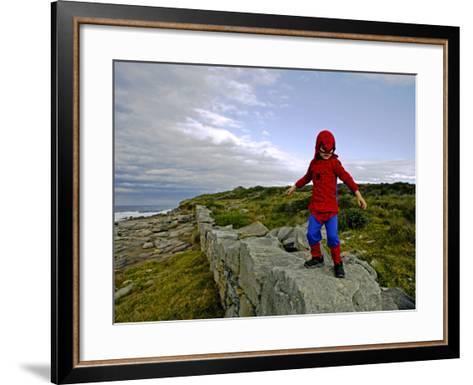 Child Dressed as Spiderman at Maroubra Beach-Oliver Strewe-Framed Art Print
