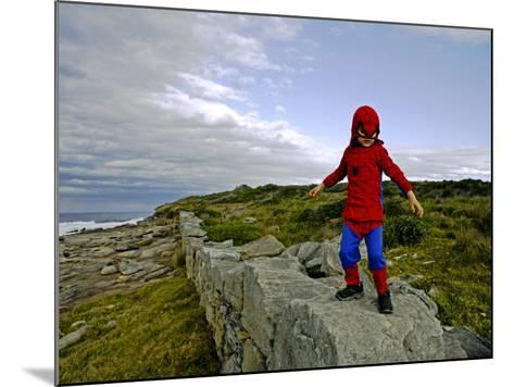 Child Dressed as Spiderman at Maroubra Beach-Oliver Strewe-Mounted Photographic Print