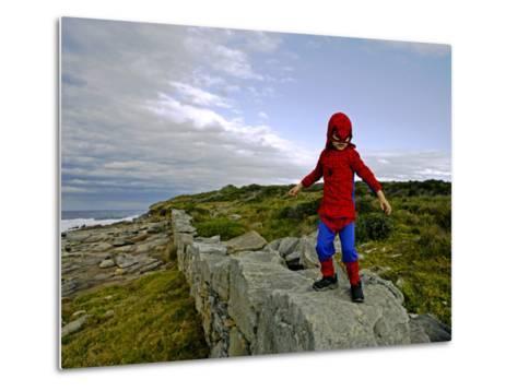 Child Dressed as Spiderman at Maroubra Beach-Oliver Strewe-Metal Print