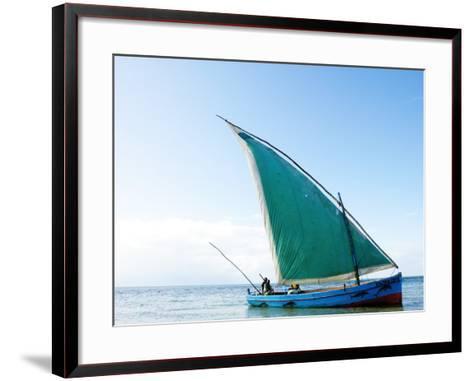 Dhow Sailing Off Coast of Vilanculos-Oliver Strewe-Framed Art Print