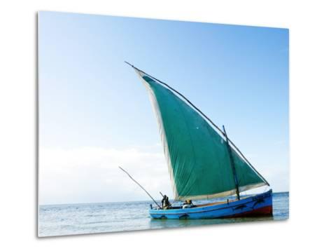 Dhow Sailing Off Coast of Vilanculos-Oliver Strewe-Metal Print