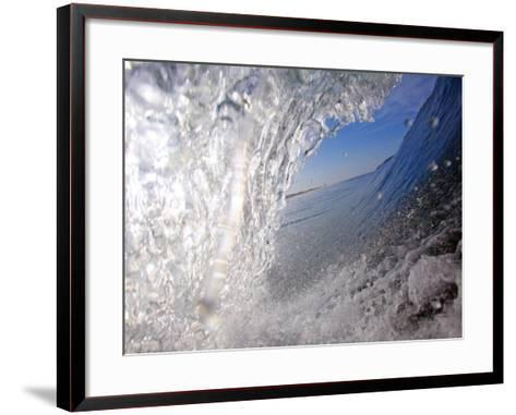 Surfer's Perspective Looking Out Barrel of Wave, at Popular Surfing Beach Playa Aserradores-Paul Kennedy-Framed Art Print