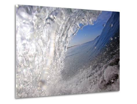 Surfer's Perspective Looking Out Barrel of Wave, at Popular Surfing Beach Playa Aserradores-Paul Kennedy-Metal Print