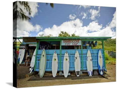 Sharks Cove Surf Shop with New Surfboards Lined Up at Front-Merten Snijders-Stretched Canvas Print