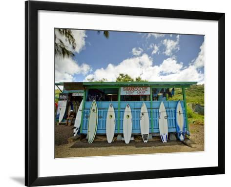 Sharks Cove Surf Shop with New Surfboards Lined Up at Front-Merten Snijders-Framed Art Print