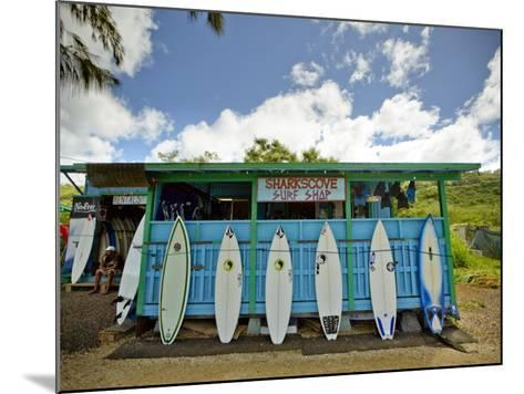 Sharks Cove Surf Shop with New Surfboards Lined Up at Front-Merten Snijders-Mounted Photographic Print