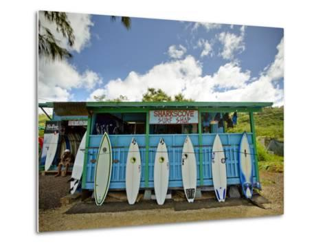 Sharks Cove Surf Shop with New Surfboards Lined Up at Front-Merten Snijders-Metal Print