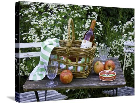 Still-Life with Wine, Cheese and Apples, in the Garden of a House in St. Denis Le Ferment-Barbara Van Zanten-Stretched Canvas Print