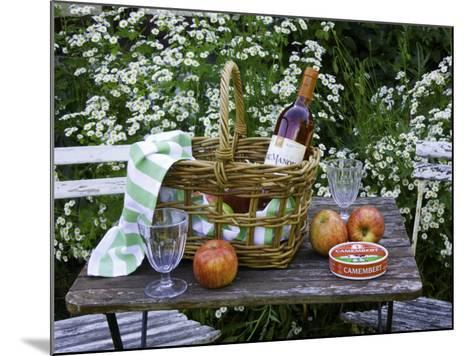 Still-Life with Wine, Cheese and Apples, in the Garden of a House in St. Denis Le Ferment-Barbara Van Zanten-Mounted Photographic Print