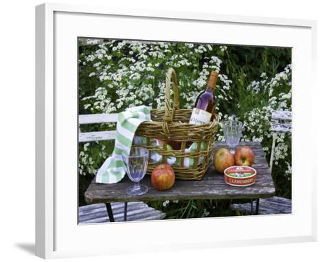 Still-Life with Wine, Cheese and Apples, in the Garden of a House in St. Denis Le Ferment-Barbara Van Zanten-Framed Art Print