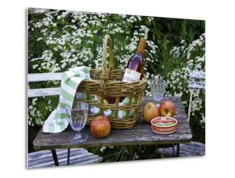 Still-Life with Wine, Cheese and Apples, in the Garden of a House in St. Denis Le Ferment-Barbara Van Zanten-Metal Print