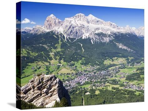 Mountain-Top View of Cortina D'Ampezzo and Peak of Tofana-Andrew Bain-Stretched Canvas Print