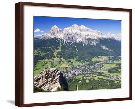 Mountain-Top View of Cortina D'Ampezzo and Peak of Tofana-Andrew Bain-Framed Art Print