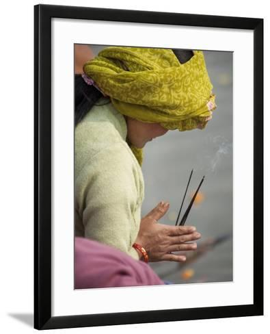 Pilgrim from Nepal Praying to River Ganga-April Maciborka-Framed Art Print