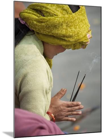 Pilgrim from Nepal Praying to River Ganga-April Maciborka-Mounted Photographic Print