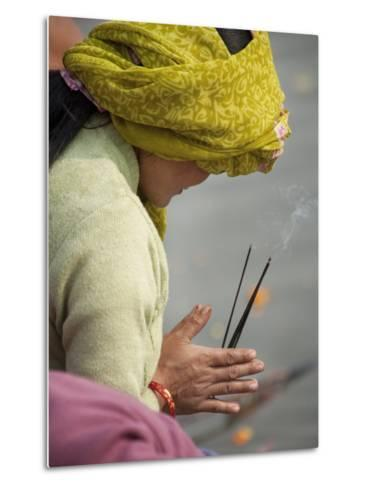 Pilgrim from Nepal Praying to River Ganga-April Maciborka-Metal Print