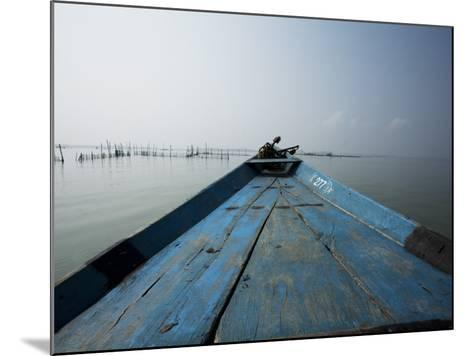 Boat on Lake with Fish Traps Ahead-April Maciborka-Mounted Photographic Print