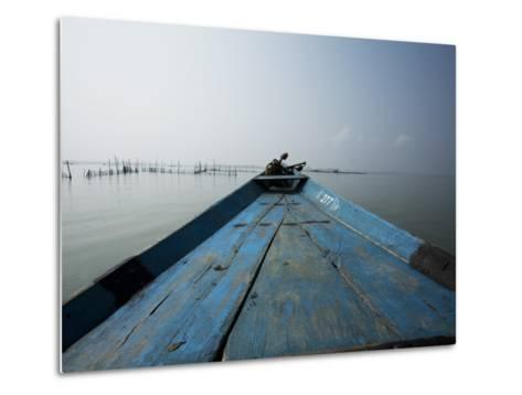 Boat on Lake with Fish Traps Ahead-April Maciborka-Metal Print