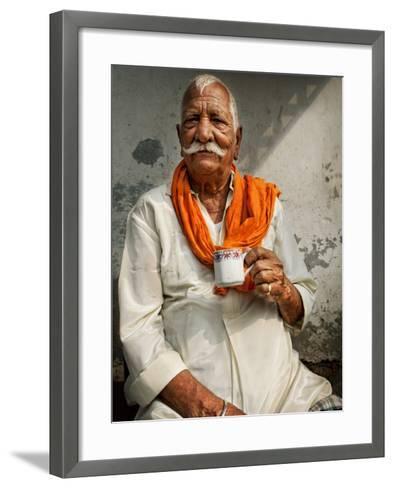 Man Drinking His Afternoon Chai-April Maciborka-Framed Art Print