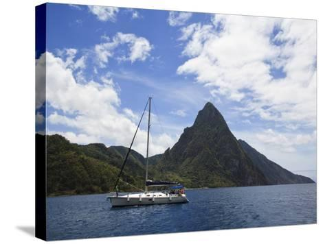 The Pitons on Southwestern Coast-Angus Oborn-Stretched Canvas Print