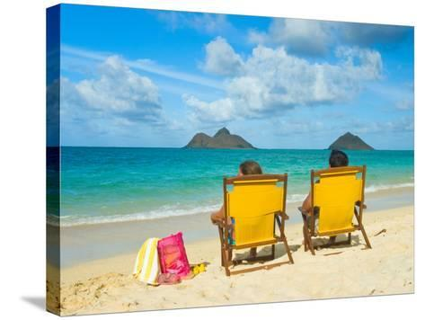 Couple Relaxing on Beach at Lanikai on Windward Side of Oahu-Ann Cecil-Stretched Canvas Print