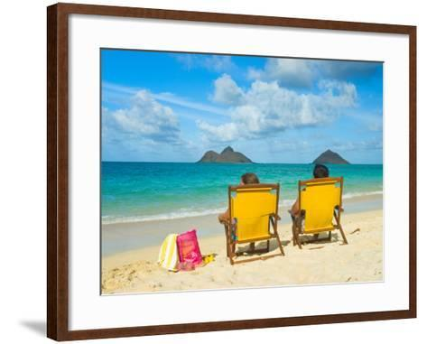 Couple Relaxing on Beach at Lanikai on Windward Side of Oahu-Ann Cecil-Framed Art Print