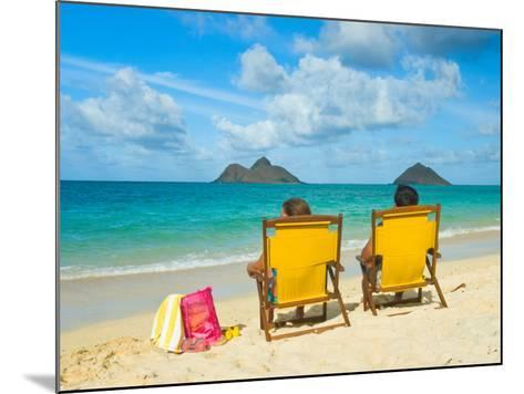 Couple Relaxing on Beach at Lanikai on Windward Side of Oahu-Ann Cecil-Mounted Photographic Print