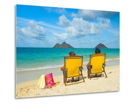 Couple Relaxing on Beach at Lanikai on Windward Side of Oahu-Ann Cecil-Metal Print