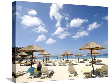Umbrellas on Beach-Austin Bush-Stretched Canvas Print