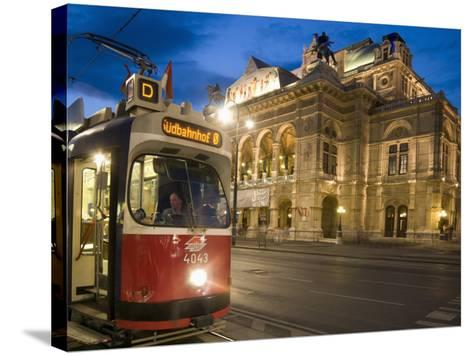 Tram Outside Statsoper (Opera House) at Opernring, Innere Stadt-Richard Nebesky-Stretched Canvas Print