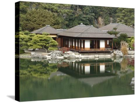 Traditional Japanese Tea House at Ritsurin Park-Seong Joon Cho-Stretched Canvas Print