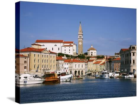 Boats in Piran Marina with Tartinijev Square-Ruth Eastham & Max Paoli-Stretched Canvas Print