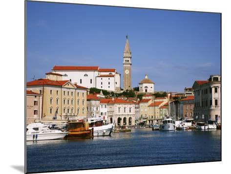 Boats in Piran Marina with Tartinijev Square-Ruth Eastham & Max Paoli-Mounted Photographic Print