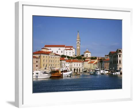 Boats in Piran Marina with Tartinijev Square-Ruth Eastham & Max Paoli-Framed Art Print