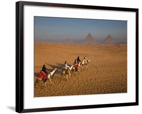 Tourists on Camels and Pyramids of Giza-Richard l'Anson-Framed Art Print