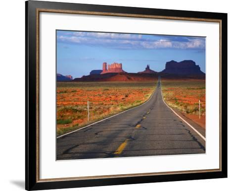 Interstate 163 Approaching Monument Valley with Sentinel Mesa in Backgound-Ruth Eastham & Max Paoli-Framed Art Print