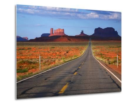 Interstate 163 Approaching Monument Valley with Sentinel Mesa in Backgound-Ruth Eastham & Max Paoli-Metal Print