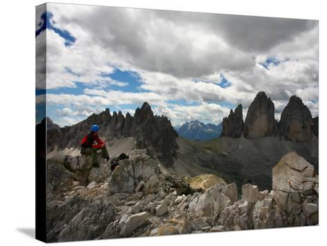 """Climber on """"Cima Dei Scarperi"""" Peak Looking Out to Paterno Peaks-Ruth Eastham & Max Paoli-Stretched Canvas Print"""