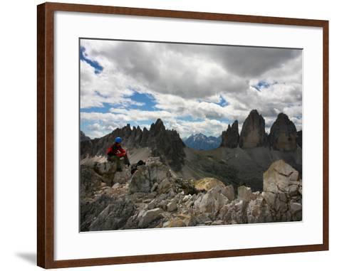 "Climber on ""Cima Dei Scarperi"" Peak Looking Out to Paterno Peaks-Ruth Eastham & Max Paoli-Framed Art Print"