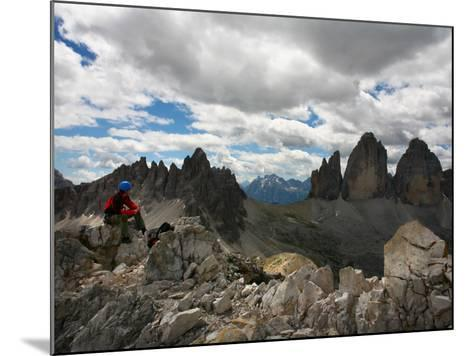 """Climber on """"Cima Dei Scarperi"""" Peak Looking Out to Paterno Peaks-Ruth Eastham & Max Paoli-Mounted Photographic Print"""