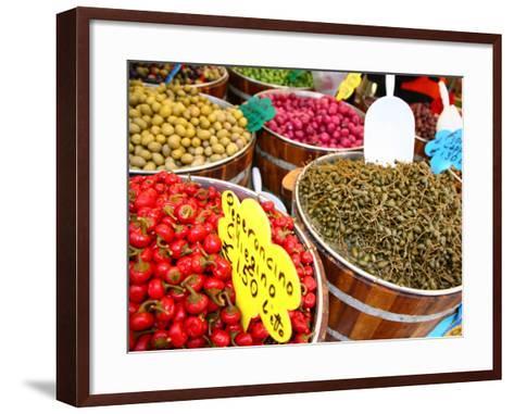 Barrels of Olives for Sale at Market Stall Along Bellini Street-Ruth Eastham & Max Paoli-Framed Art Print