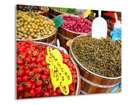Barrels of Olives for Sale at Market Stall Along Bellini Street-Ruth Eastham & Max Paoli-Metal Print